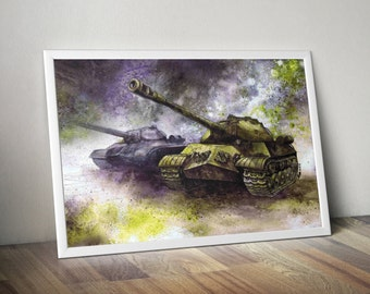 World of Tanks art print - IS-3 tanks watercolor - tank painting - World War machine - green tank art - stalin tanks - watercolor painting