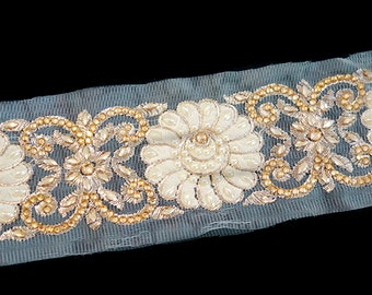 Champagne tulle trim with cream floral embroidery