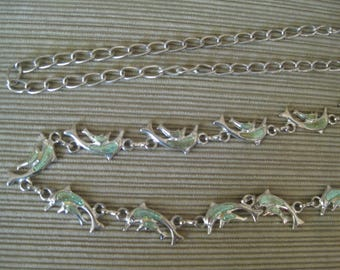 DOLPHIN SPARKLE ENAMEL Silver Tone Metal Chain Link Belt Lobster Claw Clasp