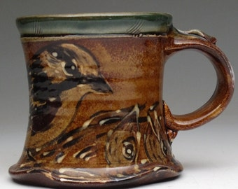 Mug with hand painted bird and babies stoneware pottery