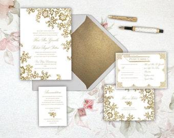 FLEUR Printable Print Yourself Gold Wedding Invitation Vineyard Pretty Modern Classic Calligraphy Paris Destination Romantic Feminine Floral
