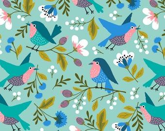 Pre-order Birds Kitchen Tea towel flowers turquoise, linen cotton / theedoek - design by Heleen van den Thillart