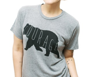 Bear Tee, Courage Tee, Trendy Tee, Hipster Tee, Tank Top, Cute Womens Shirt, Screen Printed Tank, Tops & Tees, Unisex Tank Top,