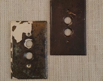 Metal switch plates, antique steel light switch plates, Victoria Era switch plates, push button plates, assemblage art supplis, rusty relics