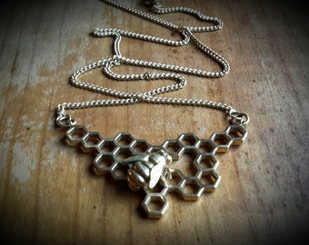 brass necklace *bee with honeycomb*