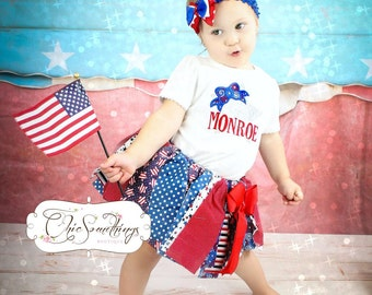 Fabric Tutu, STARS AND STRIPES, shabby Chic Tutu, july 4th, military, july fourth, red white blue, Photo Prop, Childrens Toddler
