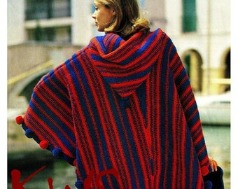 "Vintage Knit 70's Knitted ""HOODED"" Poncho - PDF Pattern - UK - Digital Pattern"