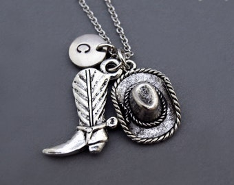 Cowboy Hat and Boot necklace, Cowgirl Hat and Boot necklace, silver cowboy hat boot, silver cowgirl hat boot, best friend necklace