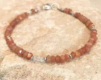 sunstone bracelet, moonstone bracelet, amber bracelet, sterling silver bracelet, gemstone bracelet, gift for her, sundance style bracelet