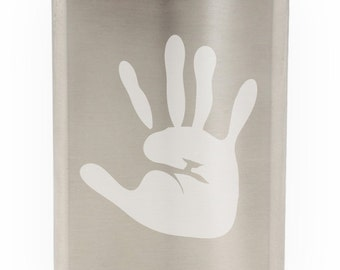 Awesome Hand Print Etched Hip Flask 8oz