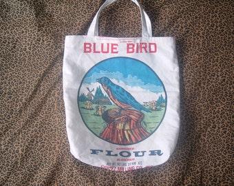 Blue Bird Flour Sack Tote Bag