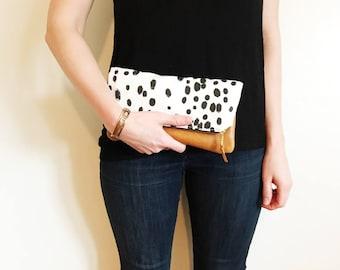 Dalmatian, Dalmatian clutch, Foldover clutch, Polk a dot clutch, Bridesmaid gift, Gifts for Her