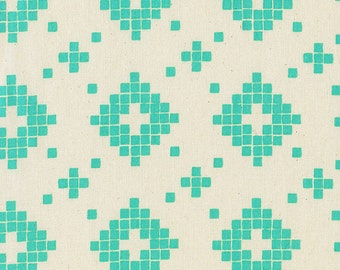 Tile in Turquoise - Unbleached Quilting Cotton - Mesa - Alexia Marcelle Abegg - Cotton & Steel - 1 Yard