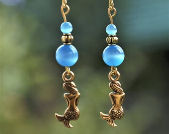 Sea Earrings Gold Mermaid Blue Witch Earrings Cat eye Jewelry Gold Blue bead Earrings Drop Blue earrings Gold Blue Glass Earrings Mermaid
