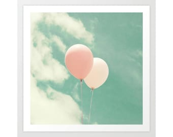 Nursery wall art, nursery decor, mint nursery art, balloon art, nursery balloons print, mint coral, large nursery art, coral nursery
