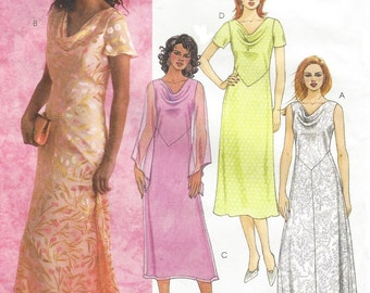 Womens 2 Hour Dresses Cowl Neckline Handkerchief Hemline McCalls Sewing Pattern M4374 Size 6 8 10 12 Bust 30 1/2 to 34 UnCut