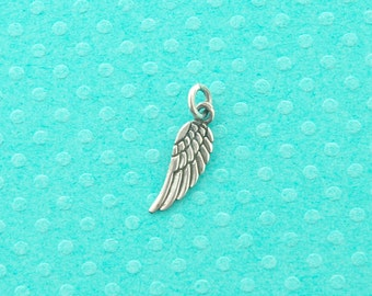 sterling silver charm - 25 pcs - sterling silver wing pendant - 925 guardian angel wing charm - sterling wing necklace