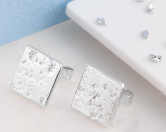 Silver memorial ashes square stud earrings