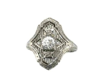 White Gold Diamond Filigree Ring, Antique Filigree Ring, Antique Diamond Ring, Filigree Ring, Diamond Ring, 18 Karat White Gold