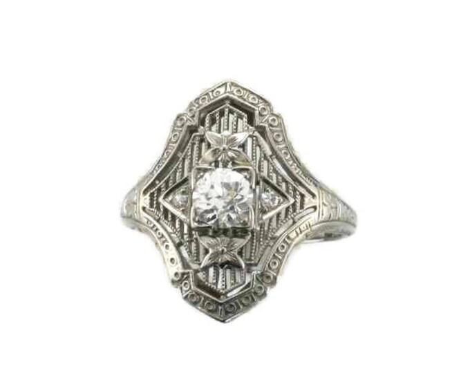 White Gold Diamond Filigree Ring, Antique Filigree Ring, Antique Diamond Ring, Filigree Ring, Diamond Ring, 18 Karat White Gold