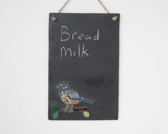 Mosaic Slate Chalkboard - Bluetit Bird - Handmade Wall Art