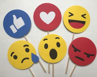 6-pack Facebook Reactions Photo Booth Props