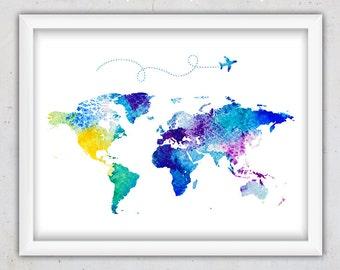 Watercolor World Map Print, Nursery World Map Print, World Map Watercolor Printable, Digital Download Kids World Map Art Print, Wall Decor