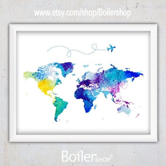 Watercolor world map print nursery world map print world map gumiabroncs Image collections