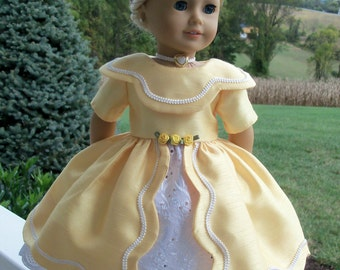 """Buttercup- PDF SEWING PATTERN  For American Girl ® Marie Grace, Cecile, Caroline or other 18"""" Dolls"""