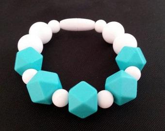 White and Turquoise Silicone beaded Teething bracelet, 100% Food Grade Silicone, Sensory Bracelet, Teething Beads, Focus, Fidget Jewelry