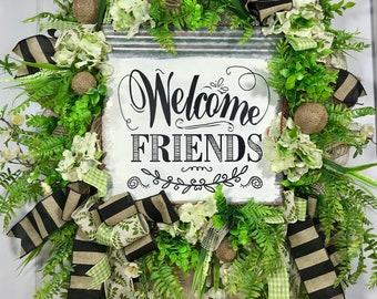 Green and White Spring and Summer Mesh Door Wreath