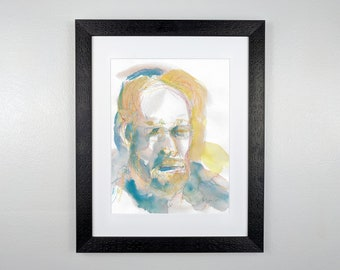 Man in Yellow and Blue - Original Framed Watercolor
