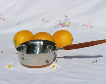 Mid Century Norway Butter Pan with Teak Handle and Copper Bottom. Marked P. F. 18-8.