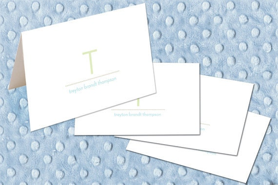 personalized note cards, monogram note cards, new baby thank you cards, juvenile notecards, lime and baby blue notecards, PC110