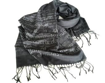 Book Scarf. Lorem Ipsum book print scarf. Cicero Latin text. Silkscreen linen weave pashmina. Charcoal & more. Graphic designer editor gift.