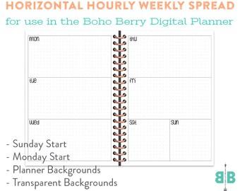 DIGITAL Horizontal Weekly Spread for the Boho Berry Digital Planner