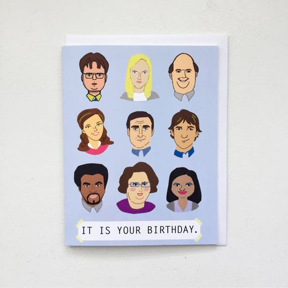 The office tv birthday card the office tv show card dunder like this item bookmarktalkfo Images