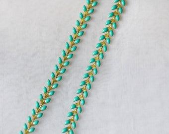 Green Enamel Brass Arrow Chain 6mm, Flat Chevron Chain, Herringbone Fish bone Designer Chain (#LK-048-2)/ 1 Meter=3.3ft