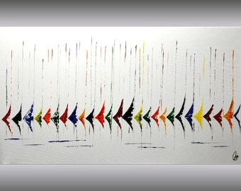 Acrylic painting abstract painting Sailboat Painting wall art canvas art colorful painting 72 x 40 large wall art Ettis Gallery