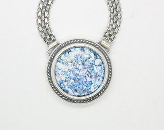 One Of A Kind 925 Sterling Silver Necklace, Ancient Roman Glass Necklace, Roman Glass Pendant, Unique Jewelry