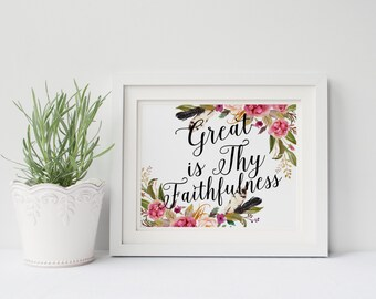 "PRINTABLE Art ""Great Is Thy Faithfulness"" Typography Art Print Floral Art Print Christian Art Print Christian Wall art Scripture Art Print"
