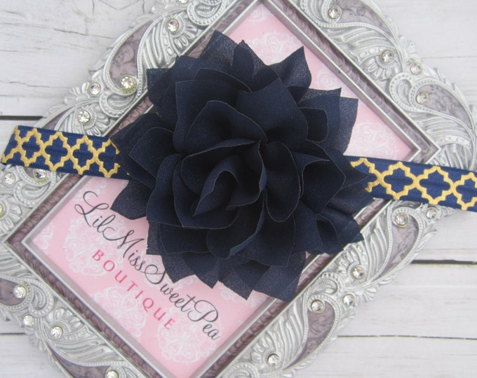 Navy Flower 3 inch on Gold Quatrefoil Headband, perfect for all ages or on an alligator clip, photo, by Lil Miss Sweet Pea