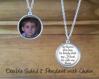 SALE! Double Sided Photo Pendant - Personalized with Photo and Saying - Gift for Mom-  - Cyber Monday