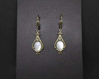 Victorian Earrings Mother of Pearl Antiqued Brass FREE SHIPPING USA