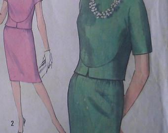 Vintage 60s Geometric Seamed Jackie Cropped Jacket Suit Sewing Pattern 4273 B34