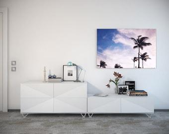 16x24 Palm Tree Paradise, Sunset Beach Photography, Windy Day at Crane Beach Barbados