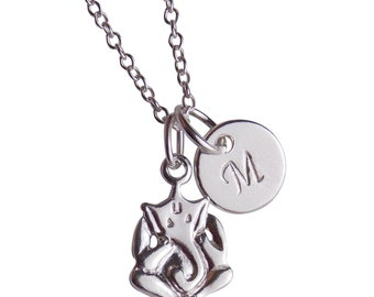 Ganesha Necklace, Initial Necklace, Elephant Jewelry, Sterling Silver, Personalized Women, Personalized Teen, Silver Monogram