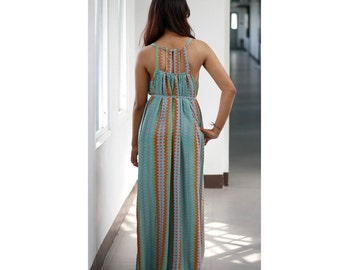 Long Summer Dress / Maxi Dress / Chevron Print Dress / Back Out Dress inTurquoise and Orange