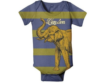 Golden Elephant Bodysuit, Boy's Personalized Baby, Infant One Piece, Custom Baby Boy Onepiece Clothing