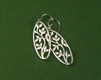 Sterling silver tree of life earrings, oval pendants, oval earrings, tree earrings, silver tree earrings, mother's day